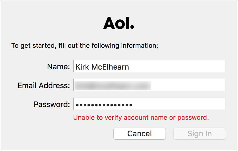 AIM cant log in