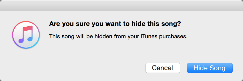 Hide itunes store purchases