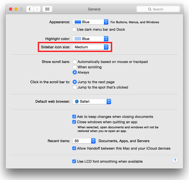 how to make the th small on mac