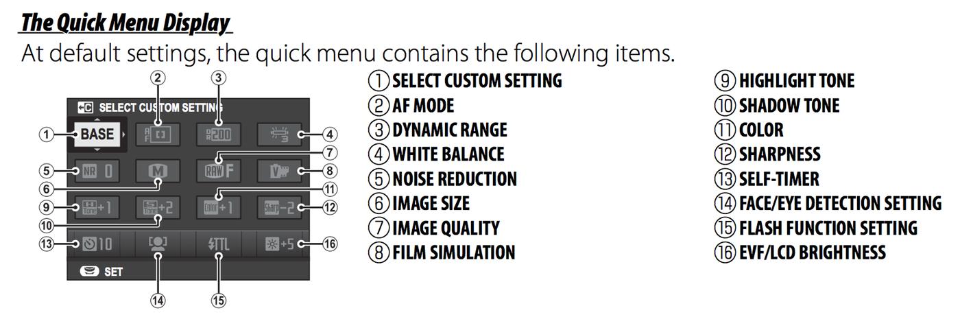 Q menu settings