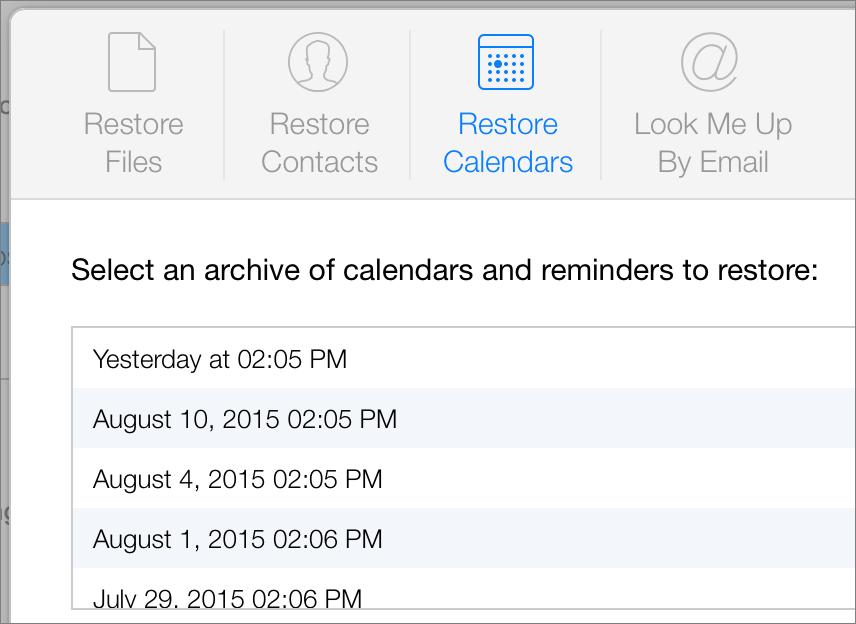 Restore calendars reminders