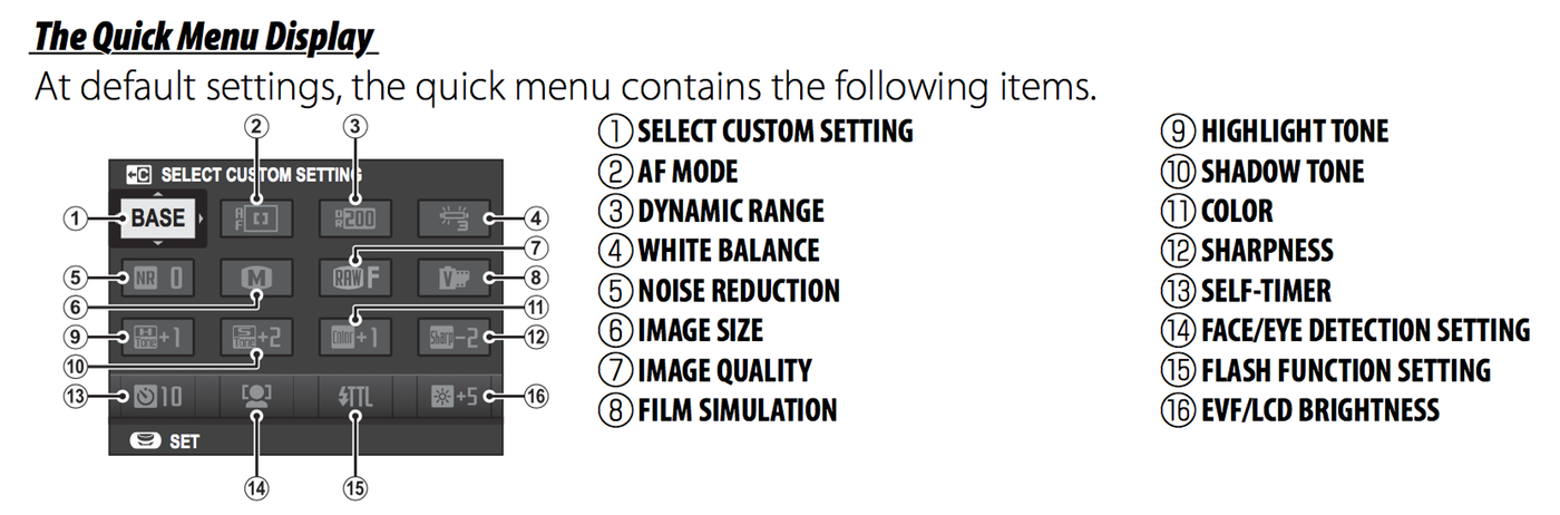 Q menu settings